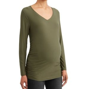 NWT MATERNITY V-NECK T-SHIRT GREEN TIME AND TRU